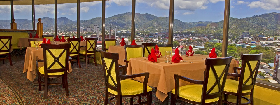 Revolving rooftop restaurant offers views of Port of Spain