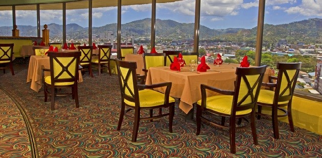 Revolving restaurant with city views