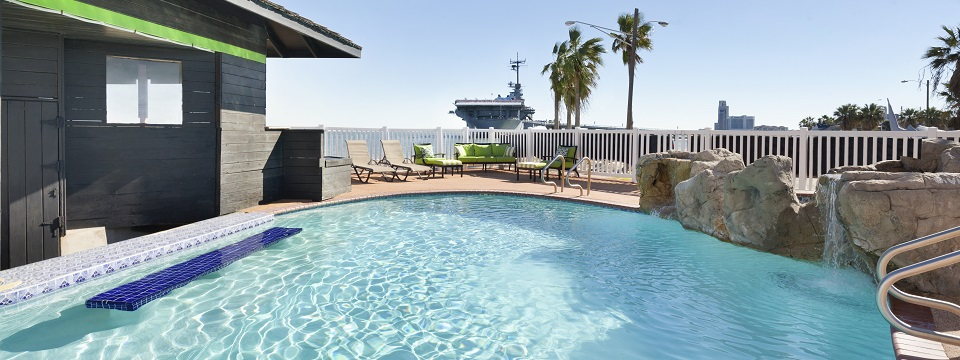 Outdoor pool overlooking USS Lexington