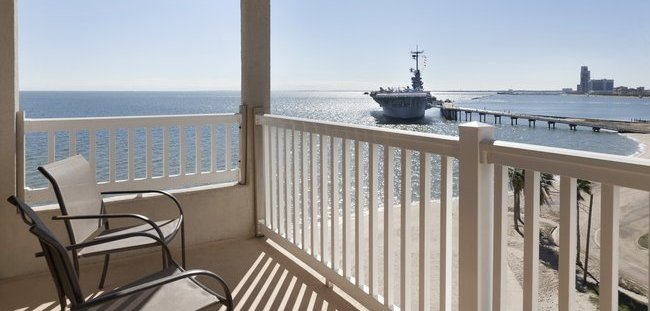 Corner Hotel Room With View Of Uss Lexington