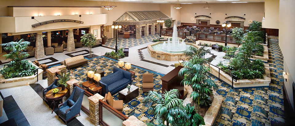 Overhead view of the expansive lobby with water fountain feature
