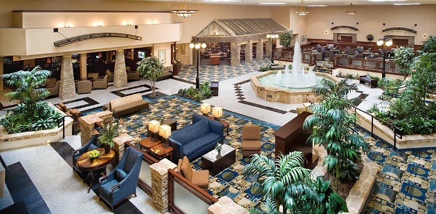Overhead view of hotel lobby with water fountain