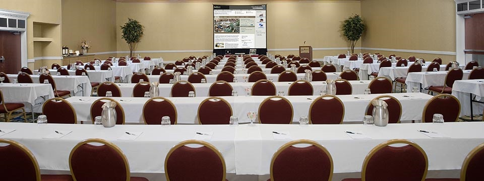 Spacious meeting room with podium and projection screen