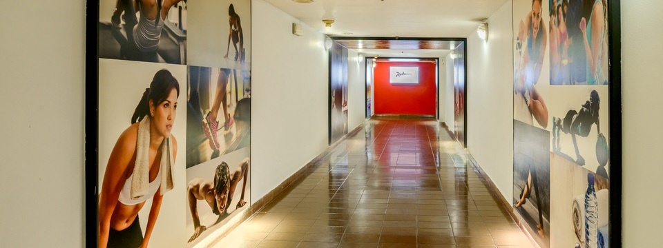 Hallway leading to on-site health spa
