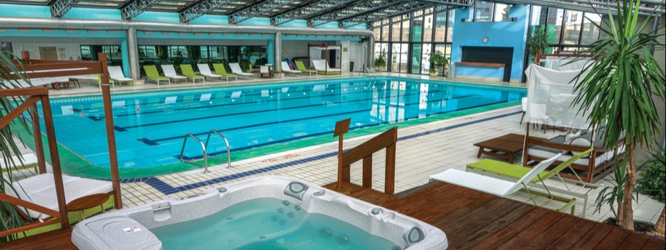 Hot tub and an expansive indoor pool with training lanes