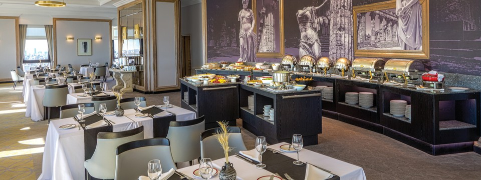 Elegant restaurant with classic decor and an expansive buffet spread