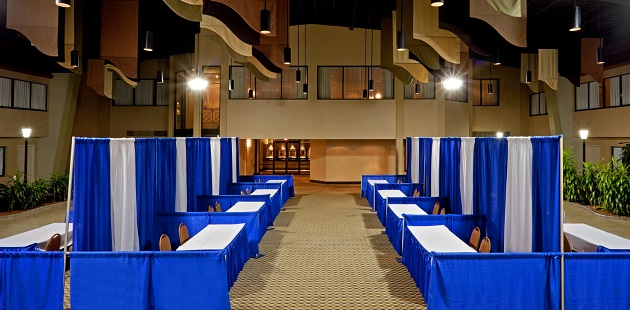 Large meeting space set up for a trade show