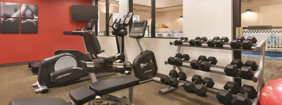 Fitness center with a treadmill, an elliptical and a rack of free weights
