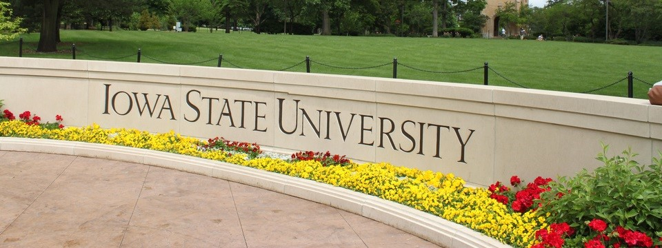 Iowa State University sign featuring red and yellow flowers
