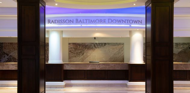 Reception desk at the Radisson in downtown Baltimore