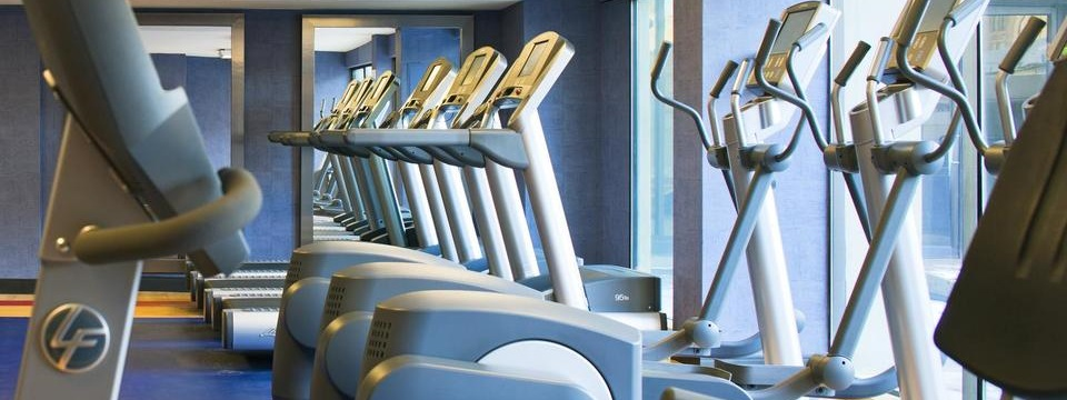 Rows of treadmills and ellipticals in fitness center