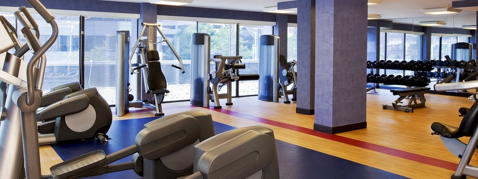 Fitness center with cardio equipment, free weights and weight machines