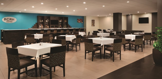 Dining room and bar in RCRH Bistro
