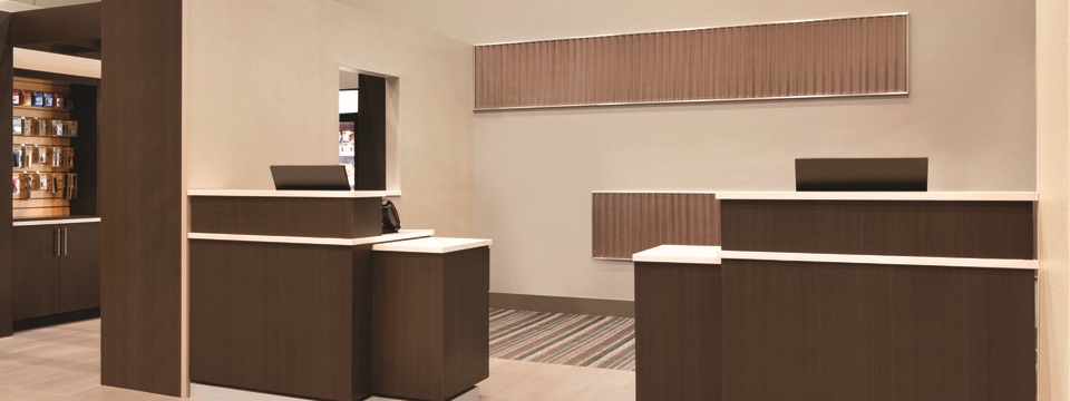 Hotel reception desks and toiletries available for purchase