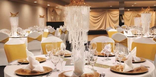 Table setting for a formal event in the ballroom