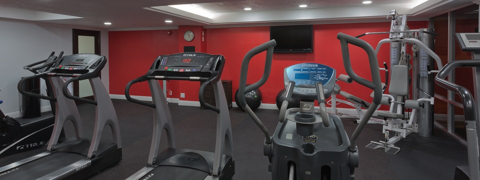 Fitness center with treadmills, elliptical and weight machine