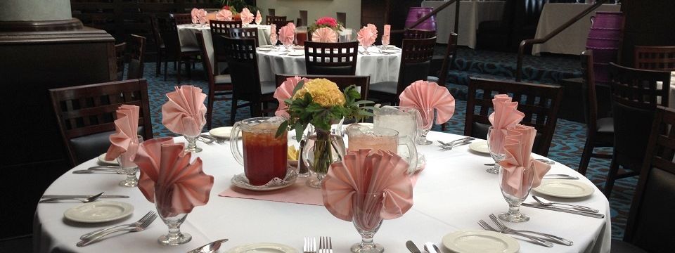 Tables decorated in pink and white