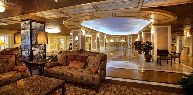 Atlantic City hotel's lobby with plush seating