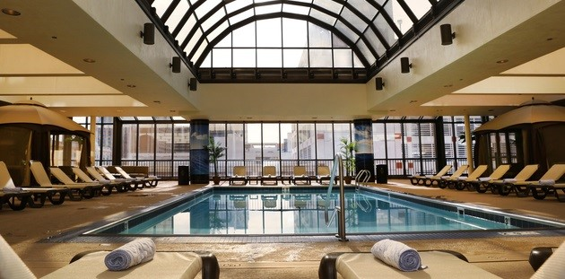 Naturally lit indoor pool area at Atlantic City hotel