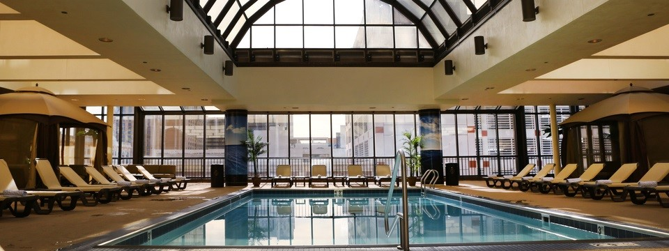 Glass ceiling over indoor pool at Atlantic City hotel