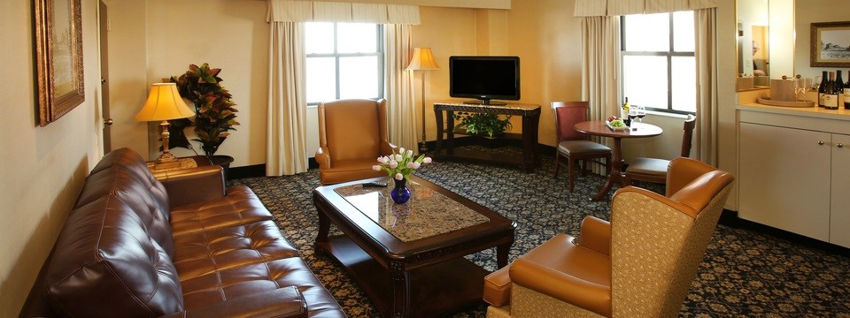 Suite Living Room with Flat-screen TV, Leather Sofa and Chairs