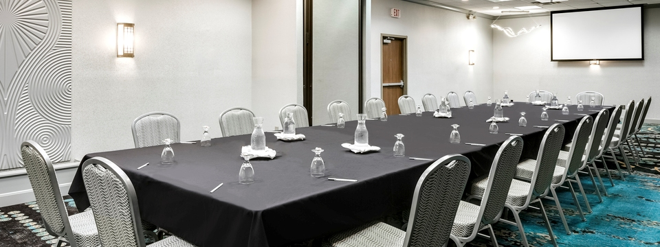 Professional meeting space with boardroom table