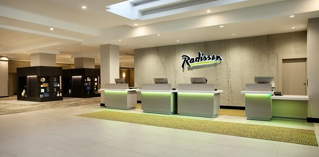 Spacious lobby with reception desk