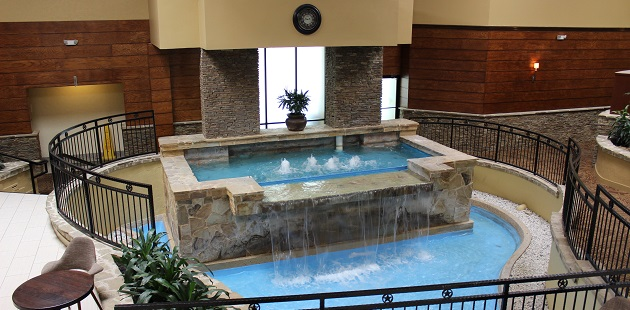 Hotel lobby with large water feature