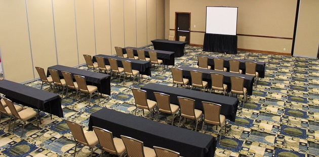 Hotel meeting space set up classroom style
