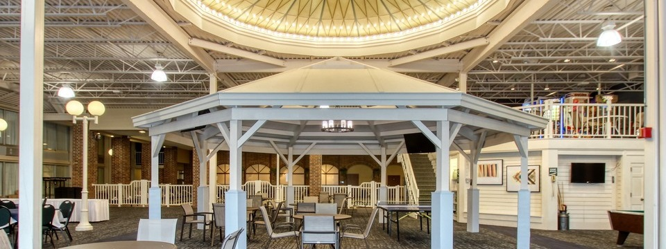 Indoor gazebo with tables and chairs