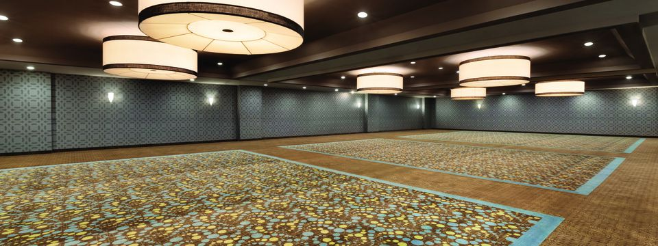 Spacious ballroom with large circular lights and patterned carpet