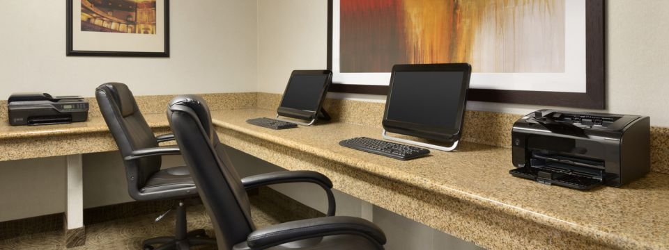 Business center with two computers and two printers