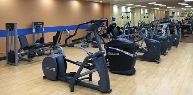 Fitness center with ellipticals and weight machines