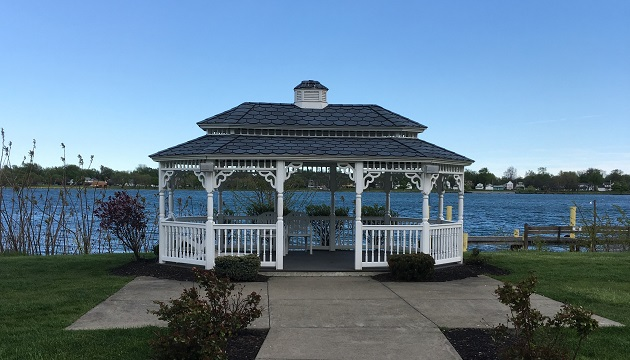 Scenic outdoor gazebo overlooking water
