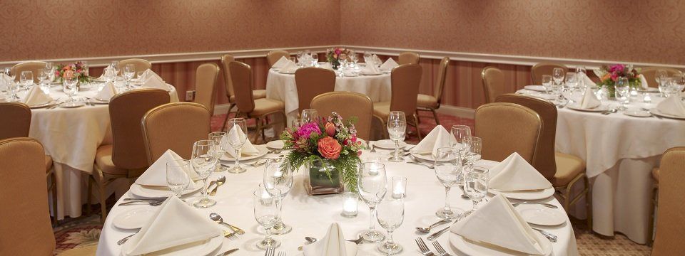 Banquet-style setup in Hartford hotel's event venue