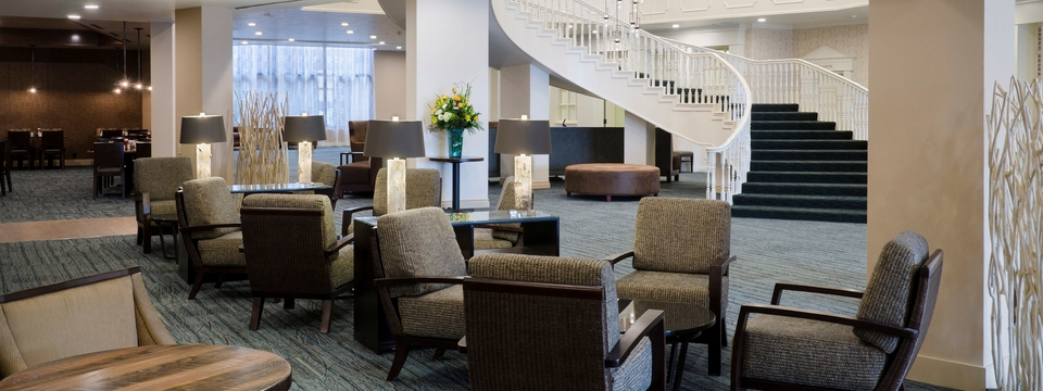 Lobby lounge with chairs and tables
