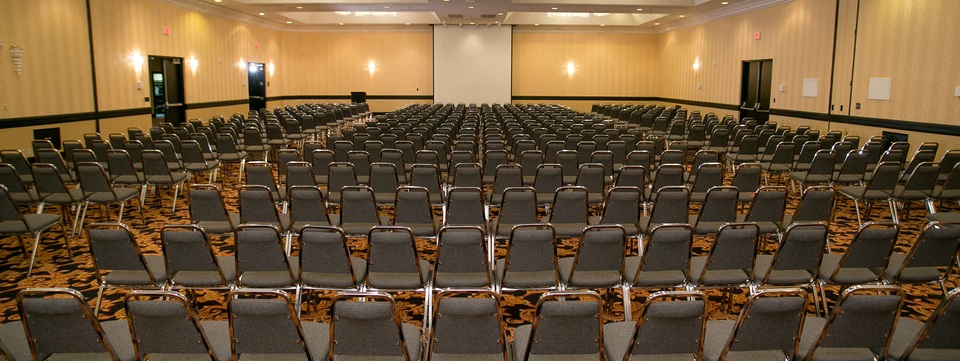 Ballroom set up in conference-style