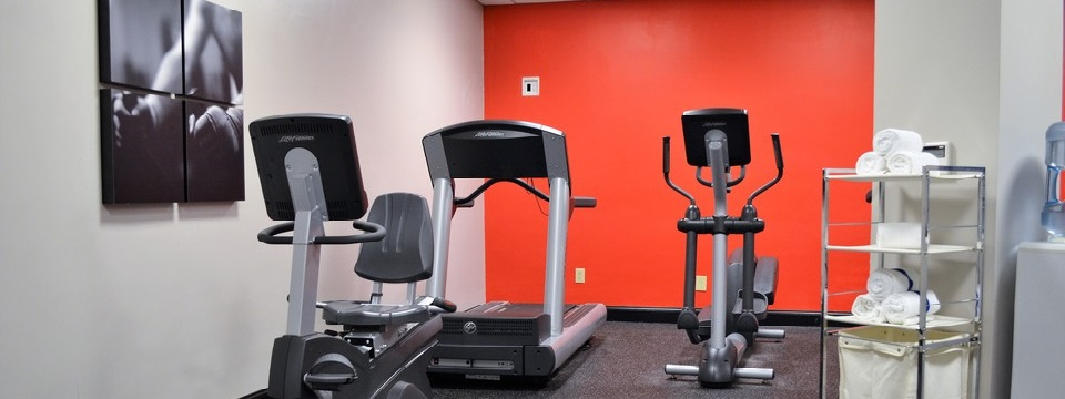 Fitness center with treadmills, towels and a TV