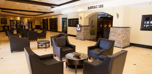 Hotel lobby seating and entrance to Bistro 135