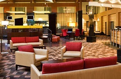 Welcoming lobby in Hauppauge hotel