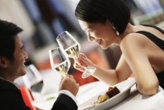 Romantic couple dining together and toasting wine