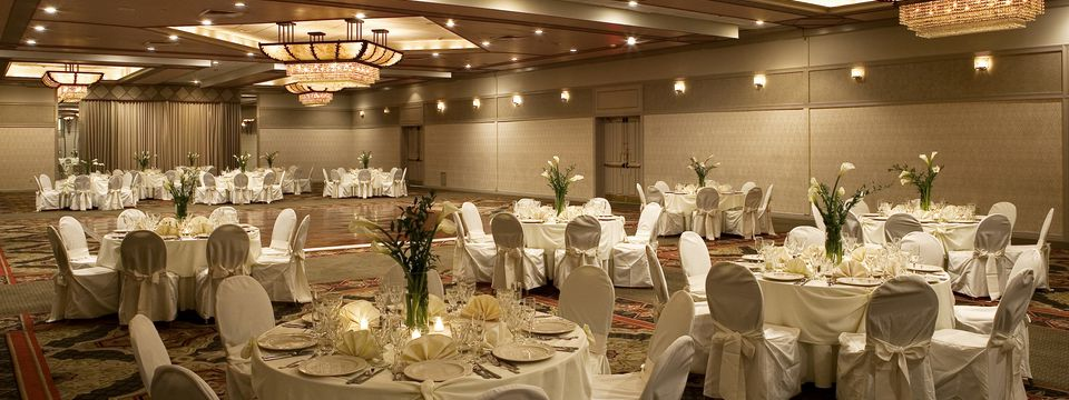 Elegant grand ballroom at Hauppauge hotel