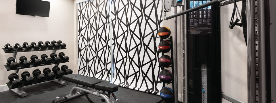 Hotel fitness center with free weights, a multi-gym and a rack of medicine balls