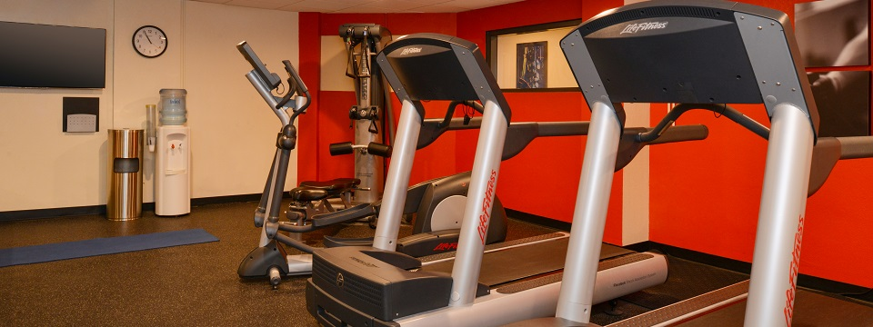 Vibrant fitness center with treadmills and more