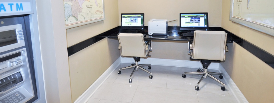 On-site ATM and business center with two computer terminals
