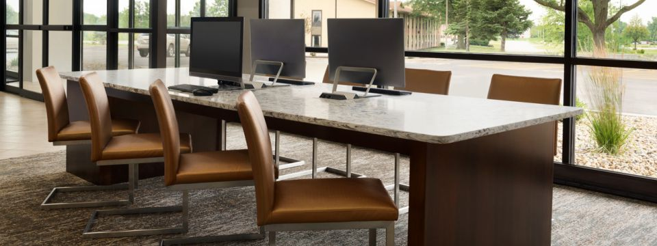 Business center with desktop computers