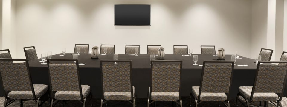 Meeting room with conference table and flat-screen TV