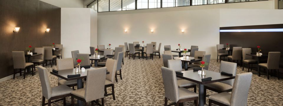 Restaurant dining area with single rose centerpieces