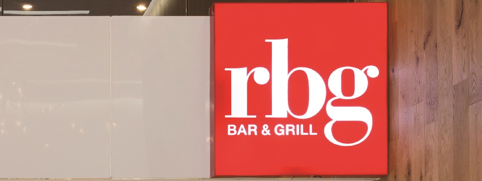 Red and white sign for RBG Bar & Grill