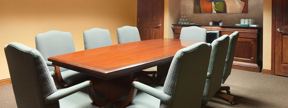 Cedar Boardroom with table, executive chairs and counter space